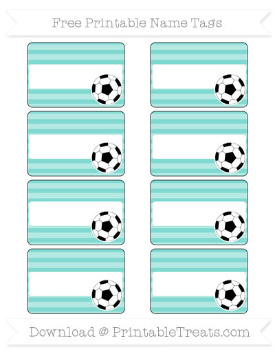 Free Tiffany Blue Horizontal Striped Soccer Name Tags