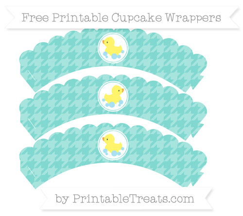 Free Tiffany Blue Houndstooth Pattern Baby Duck Scalloped Cupcake Wrappers