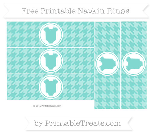 Free Tiffany Blue Houndstooth Pattern Baby Onesie Napkin Rings