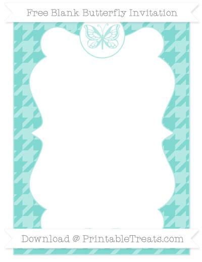 Free Tiffany Blue Houndstooth Pattern Blank Butterfly Invitation