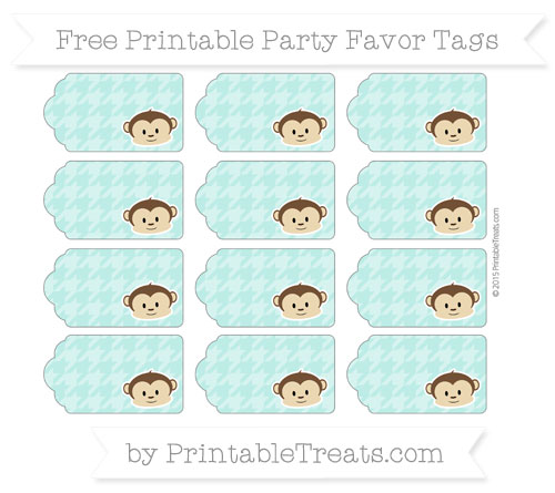 Free Tiffany Blue Houndstooth Pattern Boy Monkey Party Favor Tags