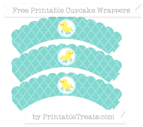 Free Tiffany Blue Moroccan Tile Baby Duck Scalloped Cupcake Wrappers