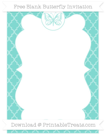 Free Tiffany Blue Moroccan Tile Blank Butterfly Invitation