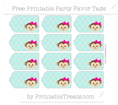 Free Tiffany Blue Moroccan Tile Girl Monkey Party Favor Tags