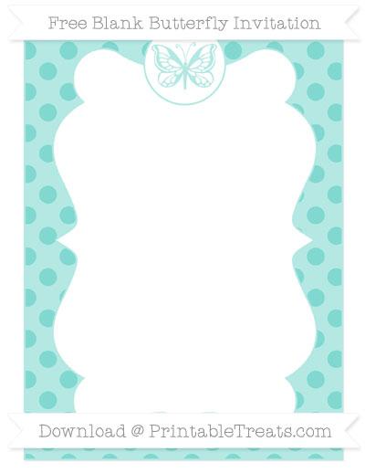 Free Tiffany Blue Polka Dot Blank Butterfly Invitation
