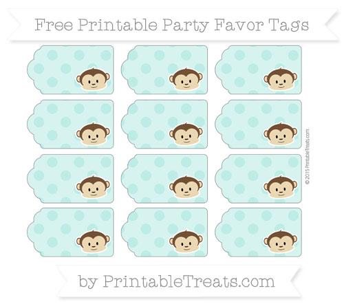Free Tiffany Blue Polka Dot Boy Monkey Party Favor Tags
