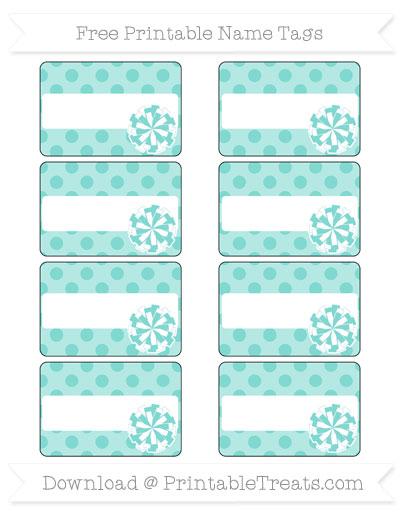 Free Tiffany Blue Polka Dot Cheer Pom Pom Tags