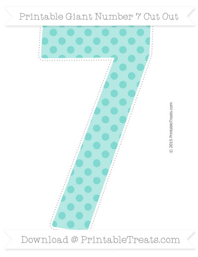 Free Tiffany Blue Polka Dot Giant Number 7 Cut Out