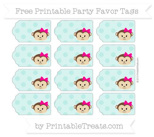 Free Tiffany Blue Polka Dot Girl Monkey Party Favor Tags