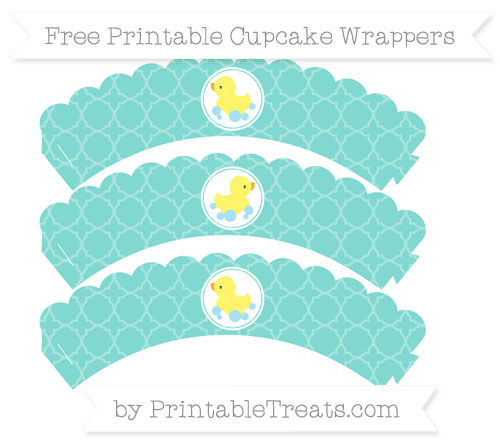 Free Tiffany Blue Quatrefoil Pattern Baby Duck Scalloped Cupcake Wrappers