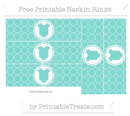 Free Tiffany Blue Quatrefoil Pattern Baby Onesie Napkin Rings