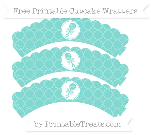Free Tiffany Blue Quatrefoil Pattern Baby Rattle Scalloped Cupcake Wrappers