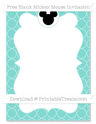 Free Tiffany Blue Quatrefoil Pattern Blank Mickey Mouse Invitation