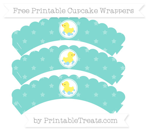 Free Tiffany Blue Star Pattern Baby Duck Scalloped Cupcake Wrappers
