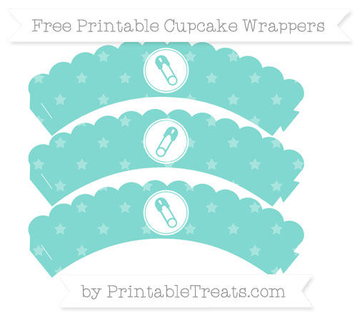 Free Tiffany Blue Star Pattern Diaper Pin Scalloped Cupcake Wrappers