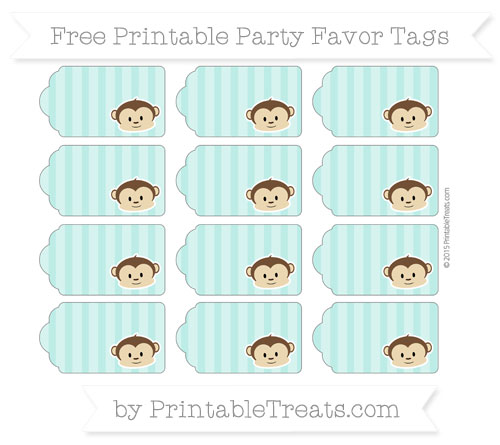 Free Tiffany Blue Striped Boy Monkey Party Favor Tags