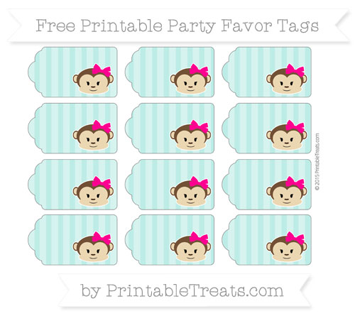 Free Tiffany Blue Striped Girl Monkey Party Favor Tags