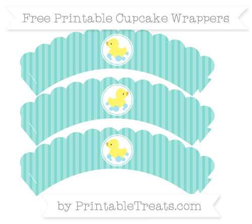 Free Tiffany Blue Thin Striped Pattern Baby Duck Scalloped Cupcake Wrappers