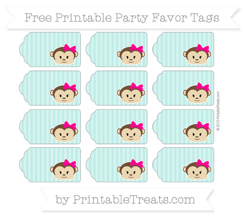 Free Tiffany Blue Thin Striped Pattern Girl Monkey Party Favor Tags