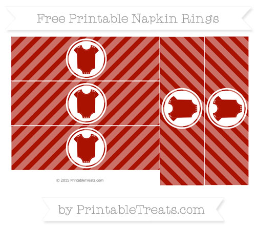 Free Turkey Red Diagonal Striped Baby Onesie Napkin Rings