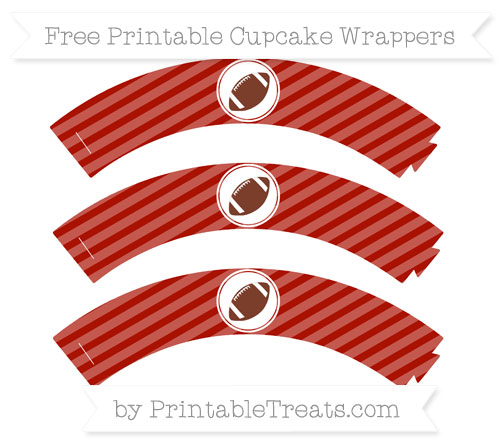 Free Turkey Red Diagonal Striped Football Cupcake Wrappers