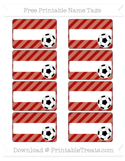 Free Turkey Red Diagonal Striped Soccer Name Tags
