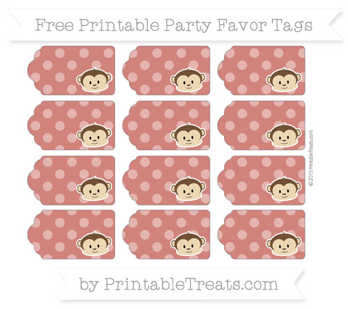 Free Turkey Red Dotted Pattern Boy Monkey Party Favor Tags