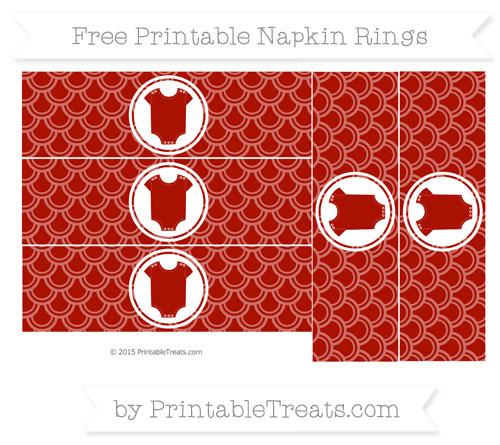 Free Turkey Red Fish Scale Pattern Baby Onesie Napkin Rings