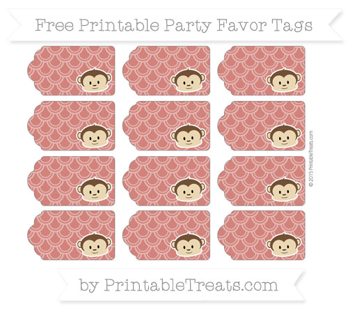 Free Turkey Red Fish Scale Pattern Boy Monkey Party Favor Tags