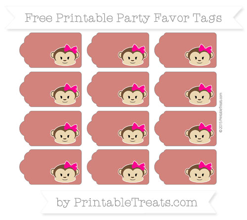 Free Turkey Red Girl Monkey Party Favor Tags