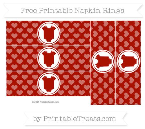 Free Turkey Red Heart Pattern Baby Onesie Napkin Rings