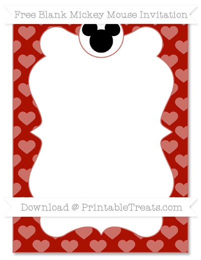 Free Turkey Red Heart Pattern Blank Mickey Mouse Invitation