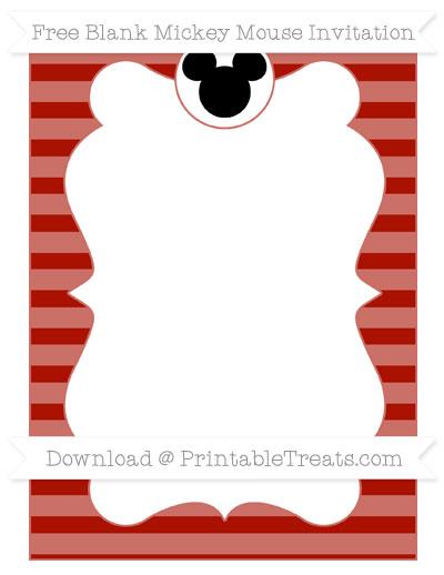 Free Turkey Red Horizontal Striped Blank Mickey Mouse Invitation