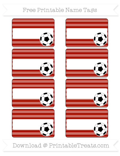 Free Turkey Red Horizontal Striped Soccer Name Tags