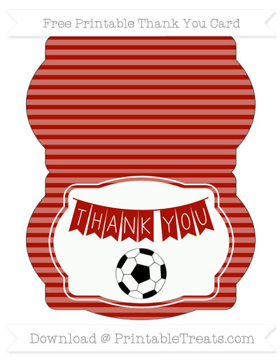 Free Turkey Red Horizontal Striped Soccer Thank You Card