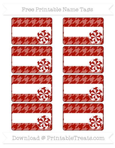 Free Turkey Red Houndstooth Pattern Cheer Pom Pom Tags
