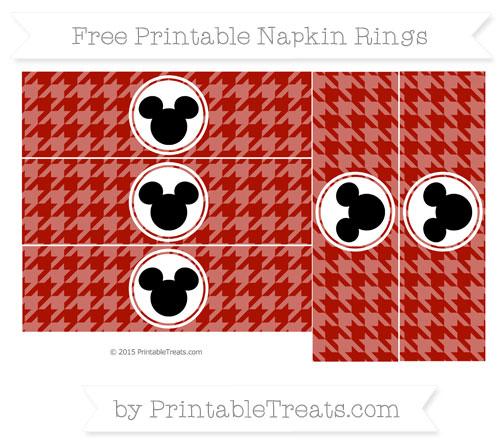 Free Turkey Red Herringbone Pattern Mickey Mouse Napkin Rings