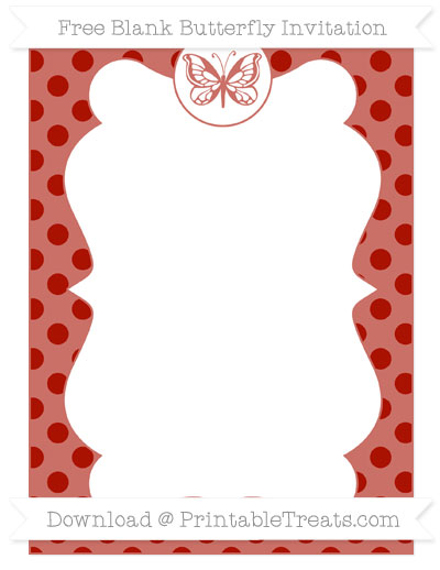 Free Turkey Red Polka Dot Blank Butterfly Invitation