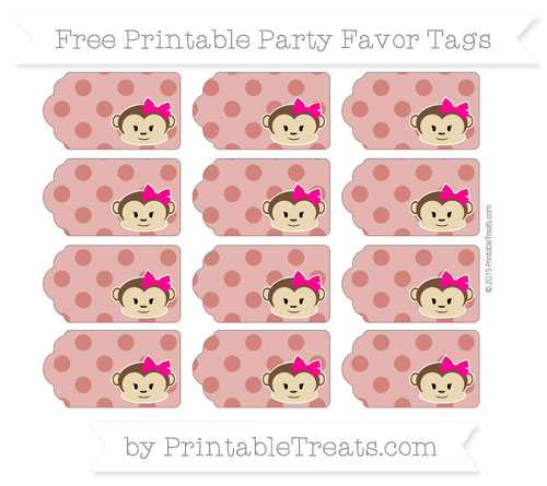Free Turkey Red Polka Dot Girl Monkey Party Favor Tags