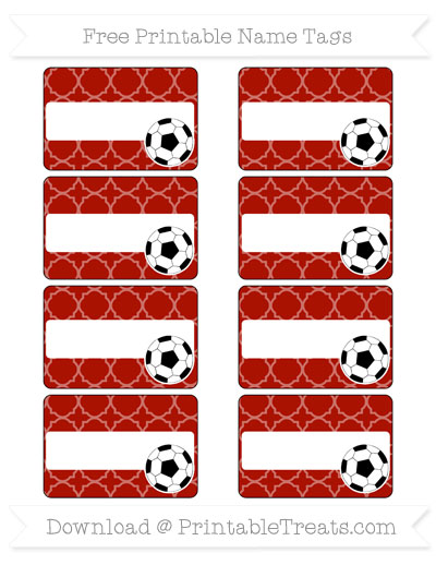 Free Turkey Red Quatrefoil Pattern Soccer Name Tags
