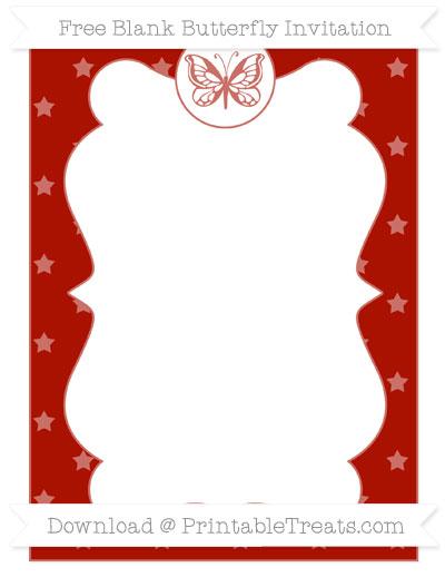 Free Turkey Red Star Pattern Blank Butterfly Invitation