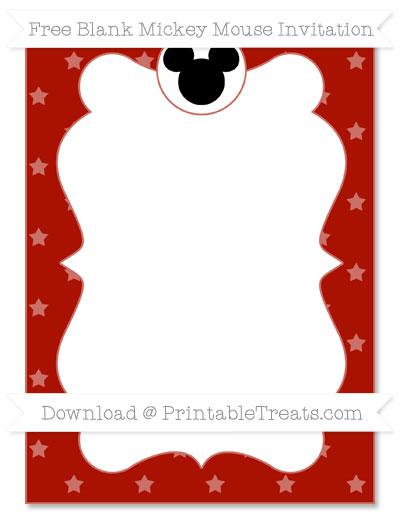 Free Turkey Red Star Pattern Blank Mickey Mouse Invitation