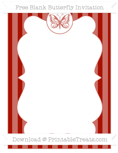 Free Turkey Red Striped Blank Butterfly Invitation