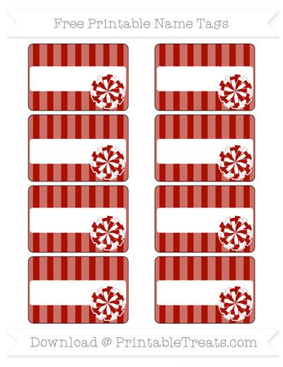Free Turkey Red Striped Cheer Pom Pom Tags
