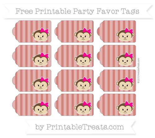 Free Turkey Red Striped Girl Monkey Party Favor Tags