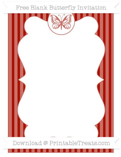 Free Turkey Red Thin Striped Pattern Blank Butterfly Invitation