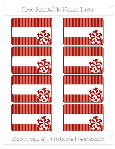 Free Turkey Red Thin Striped Pattern Cheer Pom Pom Tags
