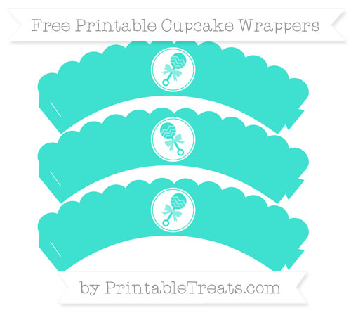 Free Turquoise Baby Rattle Scalloped Cupcake Wrappers