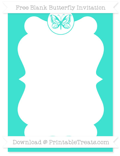 Free Turquoise Blank Butterfly Invitation