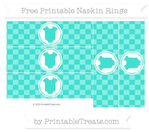 Free Turquoise Checker Pattern Baby Onesie Napkin Rings